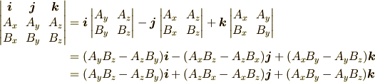 \begin{vmatrix}\bm{i}&\bm{j}&\bm{k}\\A_x&A_y&A_z\\B_x&B_y&B_z\end{vmatrix} &=  \bm{i}\begin{vmatrix}A_y&A_z\\B_y&B_z\end{vmatrix}    -\bm{j}\begin{vmatrix}A_x&A_z\\B_x&B_z\end{vmatrix}    +\bm{k}\begin{vmatrix}A_x&A_y\\B_x&B_y\end{vmatrix}\\ &=(A_yB_z-A_zB_y)\bm{i}-(A_xB_z-A_zB_x)\bm{j}+(A_xB_y-A_yB_z)\bm{k}\\ &=(A_yB_z-A_zB_y)\bm{i}+(A_zB_x-A_xB_z)\bm{j}+(A_xB_y-A_yB_z)\bm{k}